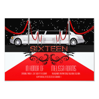 """Red Carpet Sweet 16 Party Invitations 3.5"""" X 5"""" Invitation Card"""