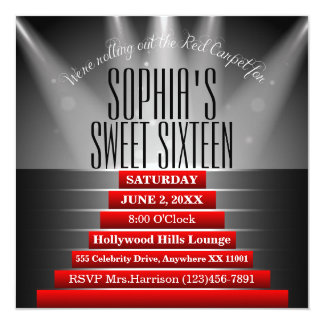 Red Carpet Sweet Sixteen Birthday Party Invitation