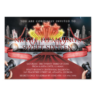 Red Carpet Sweet Sixteen Invitation