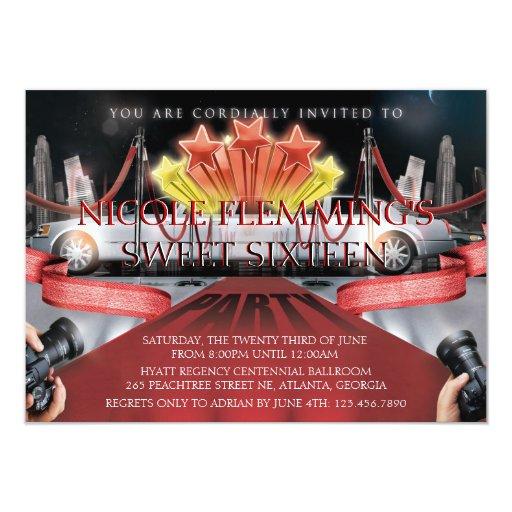"Red Carpet Sweet Sixteen Invitation 4.5"" X 6.25"" Invitation Card"