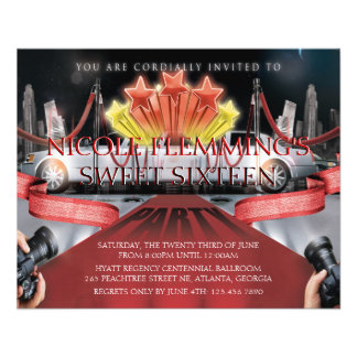 Red Carpet Sweet Sixteen Invitation Flyer