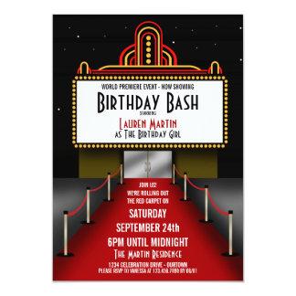 "Red Carpet Theater Birthday Party Invitation 5"" X 7"" Invitation Card"