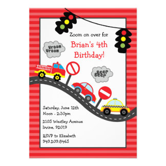 Red Cars Birthday Party Invitation