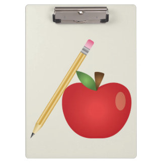 Red Cartoon Apple And Yellow Pencil Clipboard
