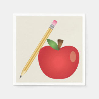 Red Cartoon Apple And Yellow Pencil Paper Napkin