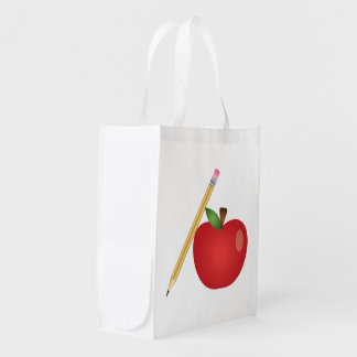 Red Cartoon Apple And Yellow Pencil Grocery Bag