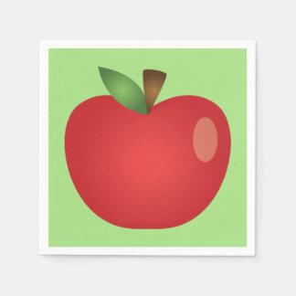 Red Cartoon Apple On Green Napkin
