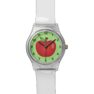 Red Cartoon Apple On Green Wristwatches