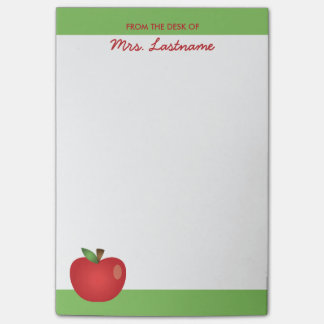 Red Cartoon Apple With Custom Name Post-it® Notes