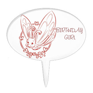 Red Cartoon Butterfly Cake Topper