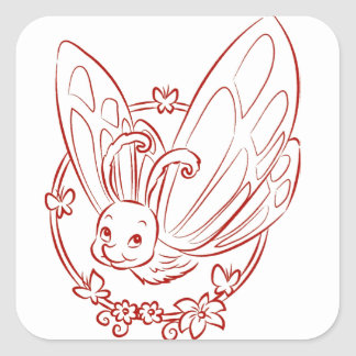 Red Cartoon Butterfly Square Sticker