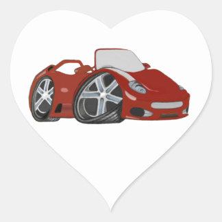 Red Cartoon Car Art Heart Sticker