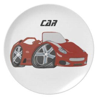 Red Cartoon Car Art Melamine Plate