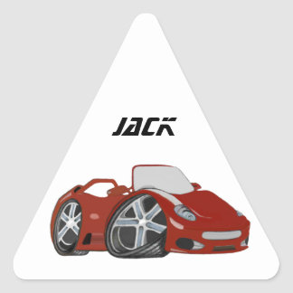 Red Cartoon Car Art Triangle Sticker