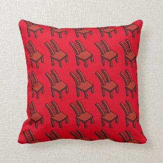 "Red Cartoon Chair Throw Pillow 16"" x 16"""