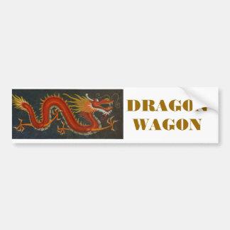 RED CARTOON DRAGON BUMPER STICKERS