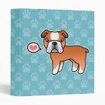 Red Cartoon English Bulldog Love Vinyl Binder