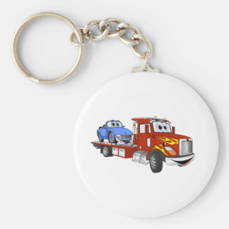 Red Cartoon Flatbed Tow Truck Keychain