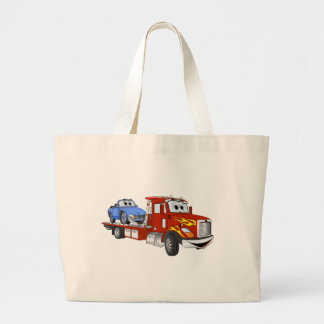 Red Cartoon Flatbed Tow Truck Large Tote Bag