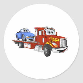 Red Cartoon Flatbed Tow Truck Classic Round Sticker