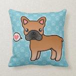 Red Cartoon French Bulldog Love Throw Pillows