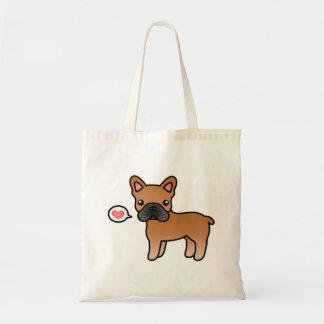 Red Cartoon French Bulldog Love Tote Bag