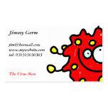 Red Cartoon Germ Business Card Template