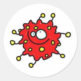 Red Cartoon Germ Classic Round Sticker