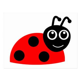 Red cartoon ladybug postcard
