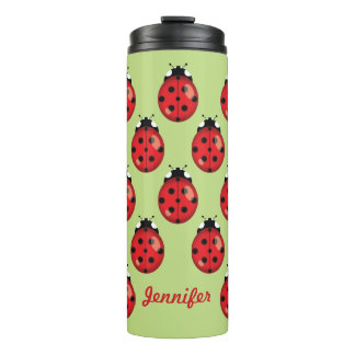 Red Cartoon Ladybugs With Custom Name Thermal Tumbler