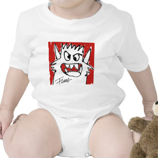 Red Cartoon Monster Infant Creeper