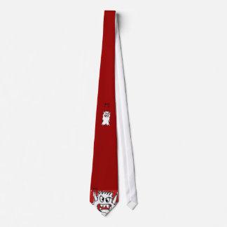 Red Cartoon Monster Neck Tie