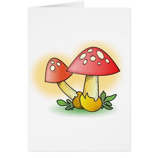 Red Cartoon Mushroom with White Spots Greeting Card