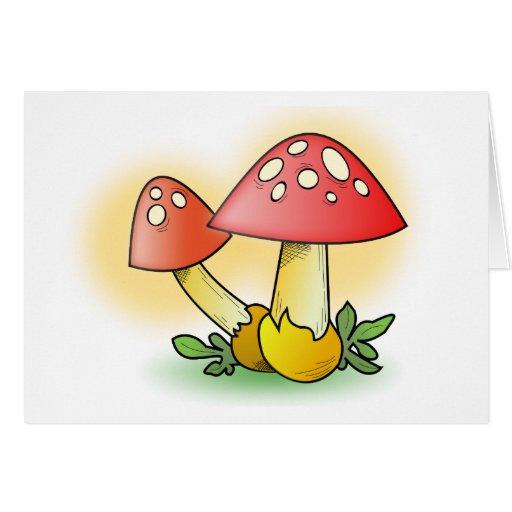 Red Cartoon Mushroom with White Spots Card