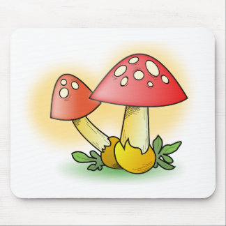 Red Cartoon Mushroom with White Spots Mouse Pad
