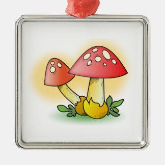 Red Cartoon Mushroom with White Spots Christmas Tree Ornaments