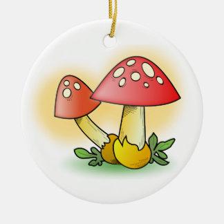 Red Cartoon Mushroom with White Spots Christmas Ornaments
