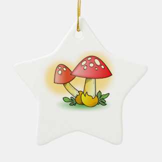 Red Cartoon Mushroom with White Spots Ornament