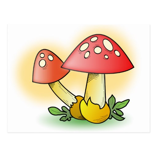 Red Cartoon Mushroom with White Spots Postcards