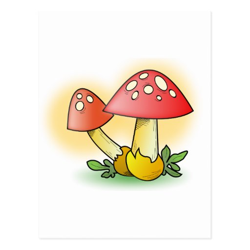 Red Cartoon Mushroom with White Spots Post Cards