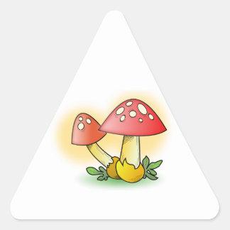 Red Cartoon Mushroom with White Spots Triangle Sticker