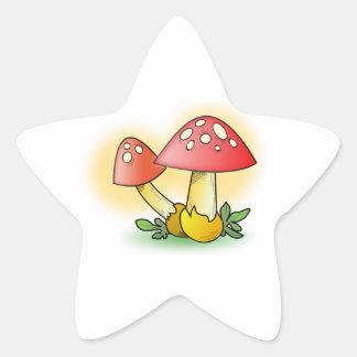 Red Cartoon Mushroom with White Spots Star Sticker