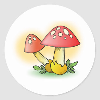 Red Cartoon Mushroom with White Spots Stickers