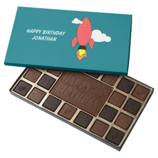 Red cartoon rocket assorted chocolates