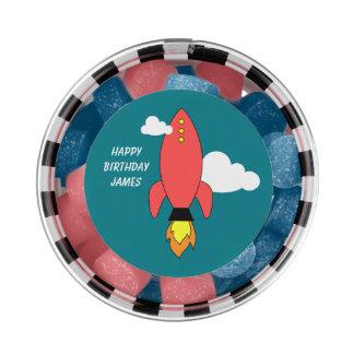 Red cartoon rocket chewing gum