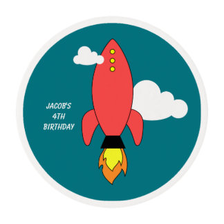 Red cartoon rocket edible frosting rounds
