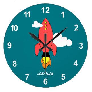 Red cartoon rocket large clock