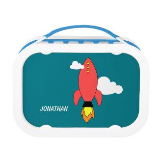Red cartoon rocket lunch box
