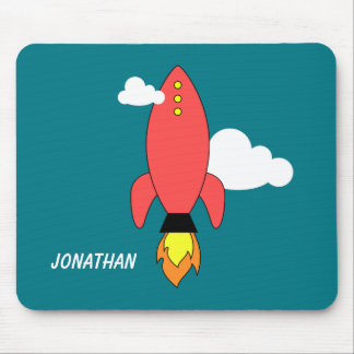 Red cartoon rocket mouse pad