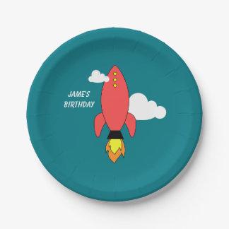 Red cartoon rocket paper plate